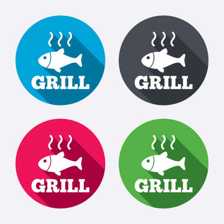 fry: Fish grill hot sign icon. Cook or fry fish symbol. Circle buttons with long shadow. 4 icons set. Vector