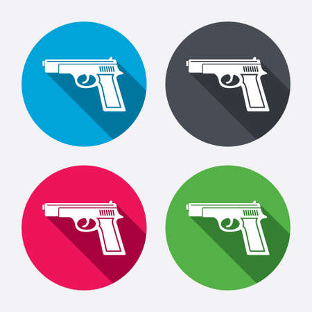 Gun sign icon. Firearms weapon symbol. Circle buttons with long shadow. 4 icons set. Vector Vector