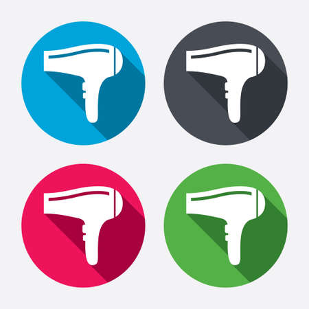 blow drying: Hairdryer sign icon. Hair drying symbol. Circle buttons with long shadow. 4 icons set. Vector Illustration