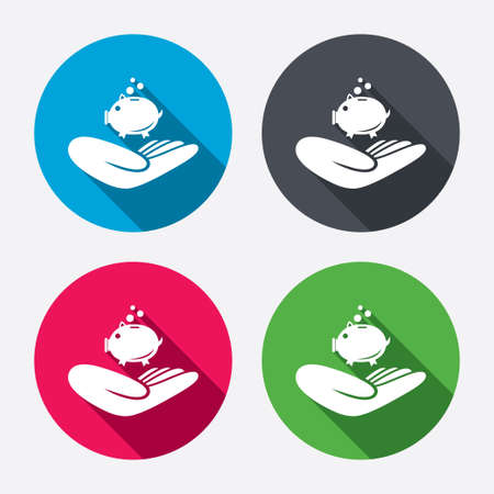 endowment: Donation hand sign icon. Hand holds Piggy bank. Charity or endowment symbol. Human helping hand palm. Circle buttons with long shadow. 4 icons set. Vector Illustration