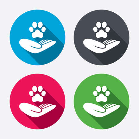 animal shelter: Shelter pets sign icon. Hand holds paw symbol. Animal protection. Circle buttons with long shadow. 4 icons set. Vector Illustration
