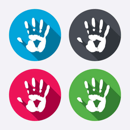 stop: Hand print sign icon. Stop symbol. Circle buttons with long shadow. 4 icons set. Vector