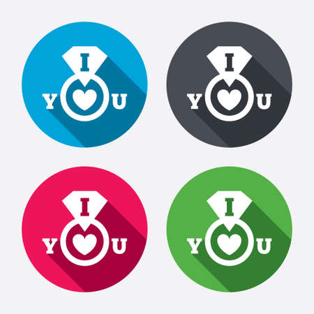 i love you sign: I Love you sign icon. Valentines day symbol. Circle buttons with long shadow. 4 icons set. Vector
