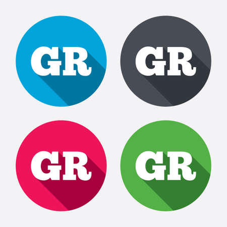 gr: Greek language sign icon. GR Greece translation symbol. Circle buttons with long shadow. 4 icons set. Vector