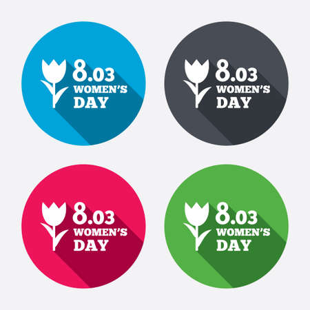 8 March Womens Day sign icon. Flower symbol. Circle buttons with long shadow. 4 icons set. Vector Vector
