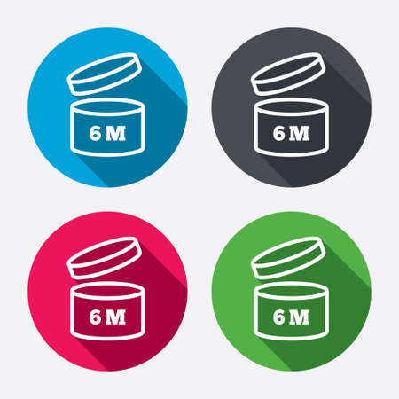 expiration date: After opening use 6 months sign icon. Expiration date. Circle buttons with long shadow. 4 icons set. Vector