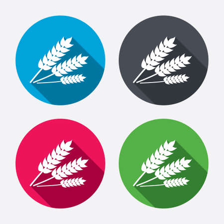 crop circle: Agricultural sign icon. Gluten free or No gluten symbol. Circle buttons with long shadow. 4 icons set. Vector
