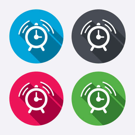 Alarm clock sign icon. Wake up alarm symbol. Circle buttons with long shadow. 4 icons set. Vector Vector