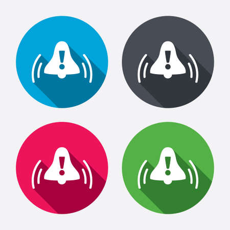 Alarm bell with exclamation mark sign icon. Wake up alarm symbol. Circle buttons with long shadow. 4 icons set. Vector Vector
