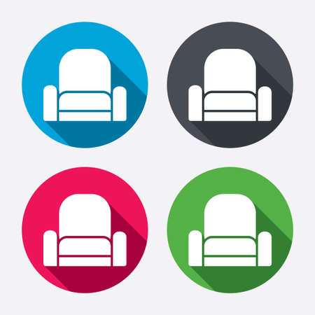 Modern Furniture Icon armchair sign icon. modern furniture symbol. circle buttons with