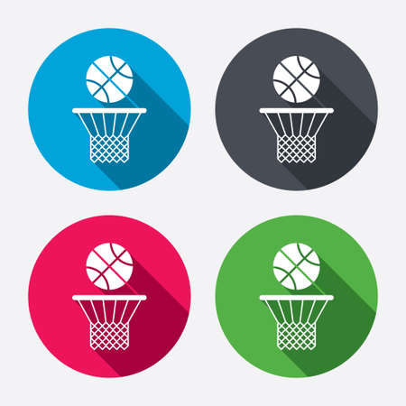 court symbol: Basketball basket and ball sign icon. Sport symbol. Circle buttons with long shadow. 4 icons set. Vector Illustration