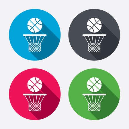 cancha de basquetbol: Canasta de baloncesto y pelota signo icono. S�mbolo Deporte. Botones de c�rculo con larga sombra. 4 iconos conjunto. Vector