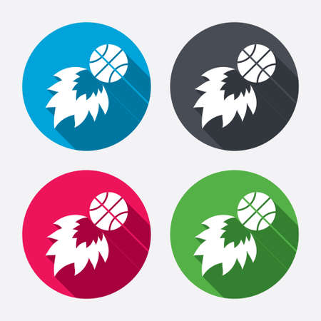 Basketball fireball sign icon. Sport symbol. Circle buttons with long shadow. 4 icons set. Vector Vector