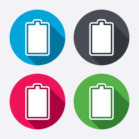 charged: Battery fully charged sign icon. Electricity symbol. Circle buttons with long shadow. 4 icons set. Vector