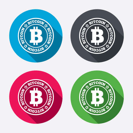 p2p: Bitcoin sign icon. Cryptography currency symbol. P2P. Circle buttons with long shadow. 4 icons set. Vector