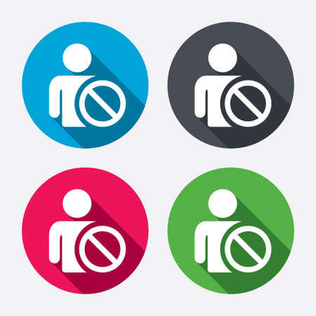 Blacklist sign icon. User not allowed symbol. Circle buttons with long shadow. 4 icons set. Vector