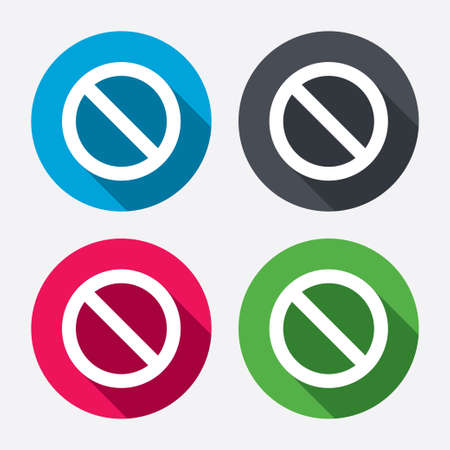 blacklist: Blacklist sign icon. User not allowed symbol. Circle buttons with long shadow. 4 icons set. Vector