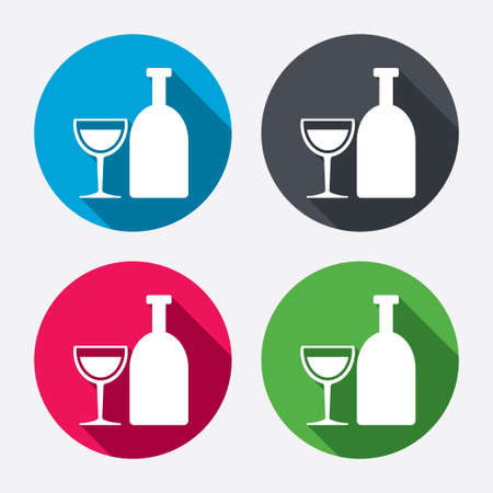 long drink: Alcohol sign icon. Drink symbol. Bottle with glass. Circle buttons with long shadow. 4 icons set. Vector Illustration