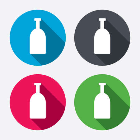 long drink: Alcohol sign icon. Drink symbol. Bottle. Circle buttons with long shadow. 4 icons set. Vector