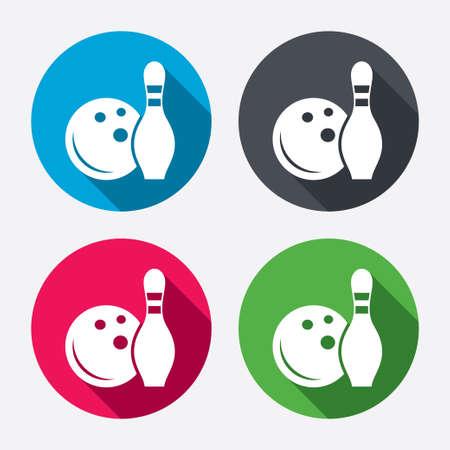 kegelen: Bowling spel teken pictogram. Bal met pin kegel symbool. Cirkel knoppen met lange schaduw. 4 iconen set. Vector