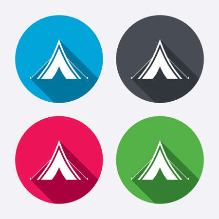 Tourist tent sign icon. Camping symbol. Circle buttons with long shadow. 4 icons set. Vector Vector