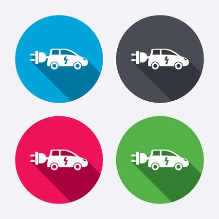 electric vehicle: Auto elettrica icona segno. Simbolo Hatchback. Trasporto del veicolo elettrico. Pulsanti di cerchio con lunga ombra. 4 icone set. Vettore