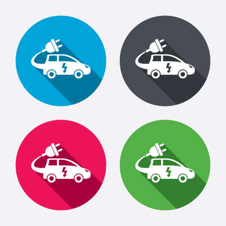 Electric car sign icon. Hatchback symbol. Electric vehicle transport. Circle buttons with long shadow. 4 icons set. Vector Vector
