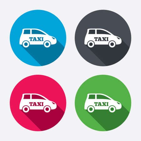 Taxi car sign icon. Hatchback symbol. Transport. Circle buttons with long shadow. 4 icons set. Vector Vector