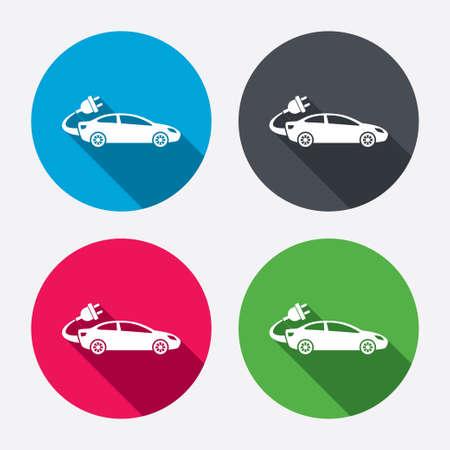 Elektrische auto teken pictogram. Sedan sedan symbool. Elektrisch vervoer voertuig. Cirkel knoppen met lange schaduw. 4 iconen set. Vector
