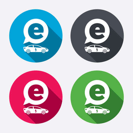 electric vehicle: Electric car sign icon. Sedan saloon symbol. Electric vehicle transport. Circle buttons with long shadow. 4 icons set. Vector