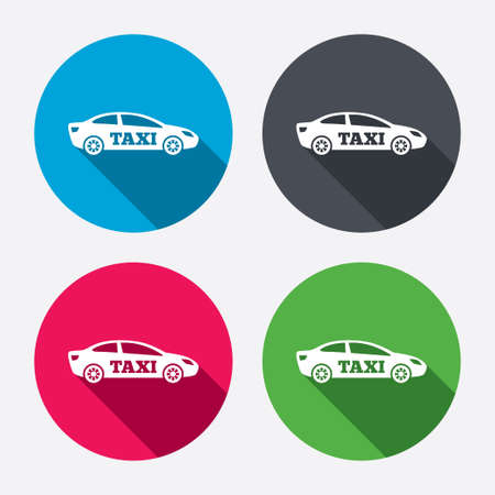 Taxi car sign icon. Sedan saloon symbol. Transport. Circle buttons with long shadow. 4 icons set. Vector Vector