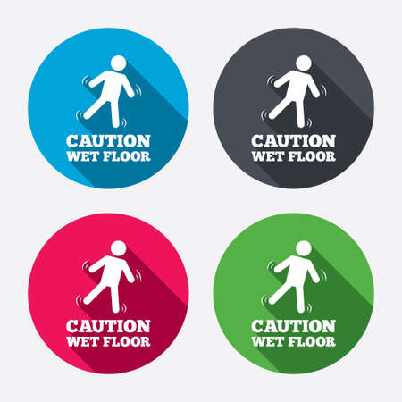 wet floor sign: Caution wet floor sign icon. Human falling symbol. Circle buttons with long shadow. 4 icons set. Vector