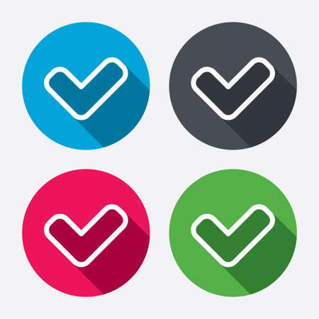 Check sign icon. Yes button. Circle buttons with long shadow. 4 icons set. Vector Vector