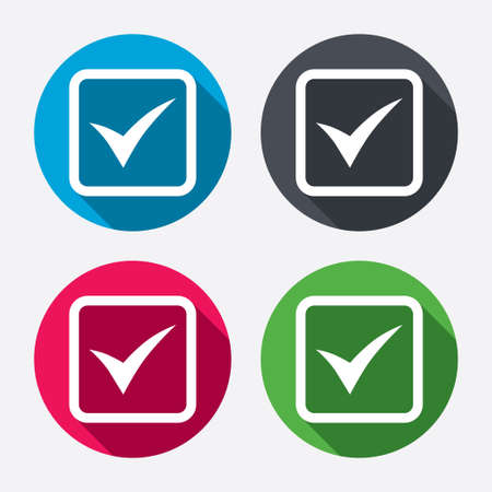 Check mark sign icon. Yes square symbol. Confirm approved. Circle buttons with long shadow. 4 icons set. Vector Vector