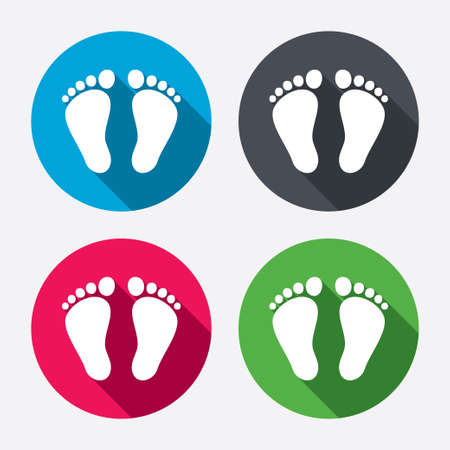 flat foot: Child pair of footprint sign icon. Toddler barefoot symbol. Circle buttons with long shadow. 4 icons set. Vector Illustration