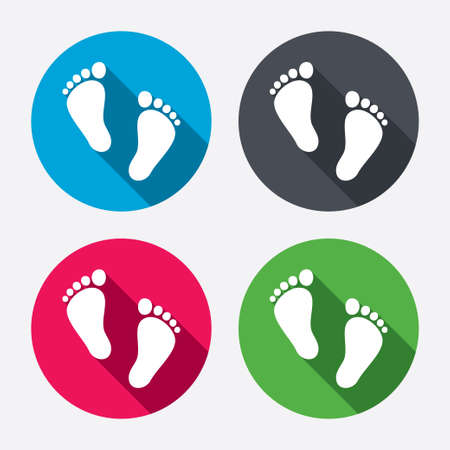barefoot walking: Child pair of footprint sign icon. Toddler barefoot symbol. Babys first steps. Circle buttons with long shadow. 4 icons set. Vector