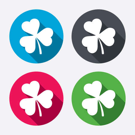trefoil: Clover with three leaves sign icon. Trifoliate clover. Saint Patrick trefoil symbol. Circle buttons with long shadow. 4 icons set. Vector Illustration