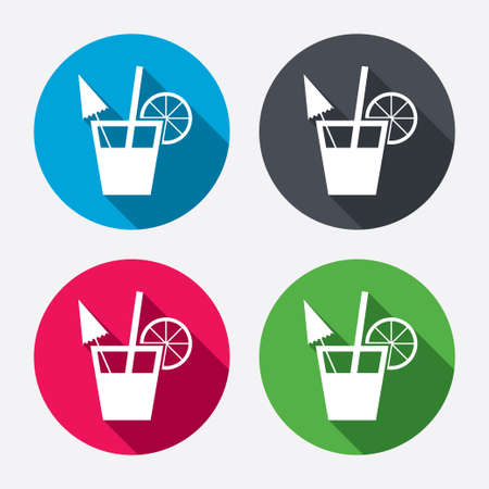 long drink: Cocktail sign. Alcoholic drink symbol. Circle buttons with long shadow. 4 icons set. Vector Illustration