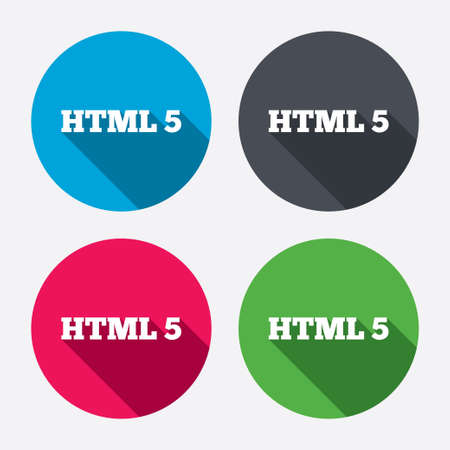 html 5: HTML5 sign icon. New Markup language symbol. Circle buttons with long shadow. 4 icons set. Vector Illustration