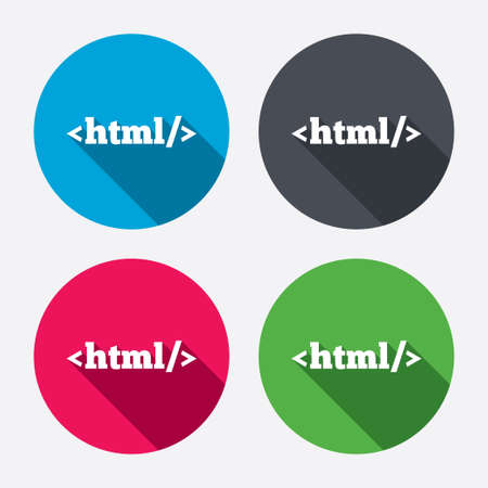 markup: HTML sign icon. Markup language symbol. Circle buttons with long shadow. 4 icons set. Vector