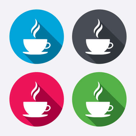 long drink: Coffee cup sign icon. Hot coffee button. Hot tea drink with steam. Circle buttons with long shadow. 4 icons set. Vector