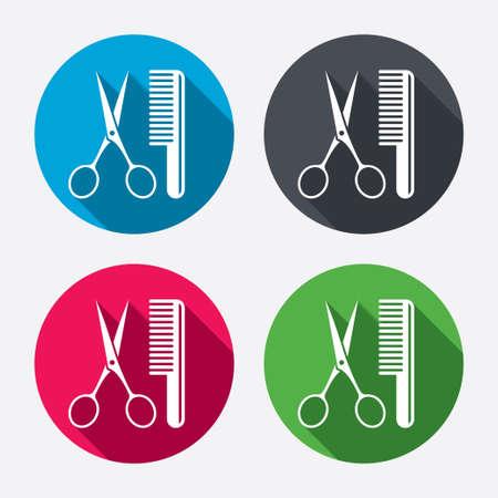 Pettine capelli con le forbici segno icona. Simbolo Barber. Pulsanti di cerchio con lunga ombra. 4 icone set. Vettore