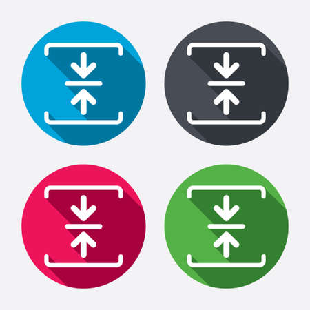zipped: Archive file sign icon. Compressed zipped file symbol. Arrows. Circle buttons with long shadow. 4 icons set. Vector