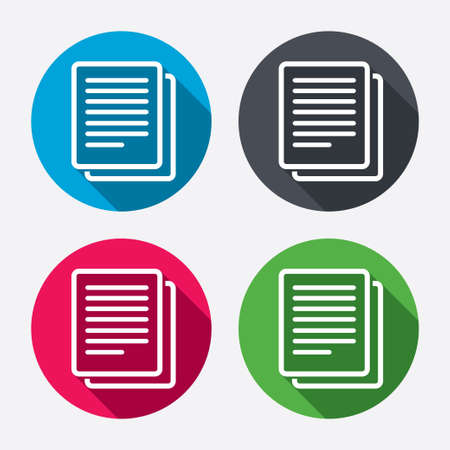 duplicate: Copy file sign icon. Duplicate document symbol. Circle buttons with long shadow. 4 icons set. Vector