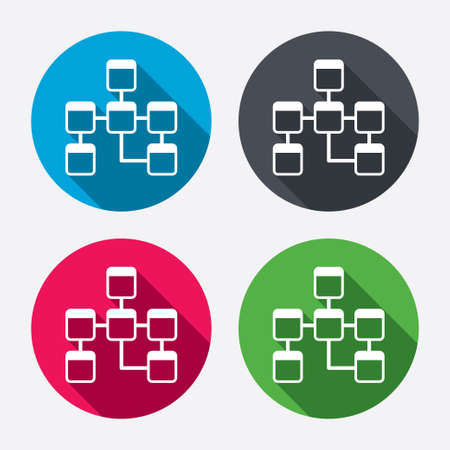 schema: Database sign icon. Relational database schema symbol. Circle buttons with long shadow. 4 icons set. Vector