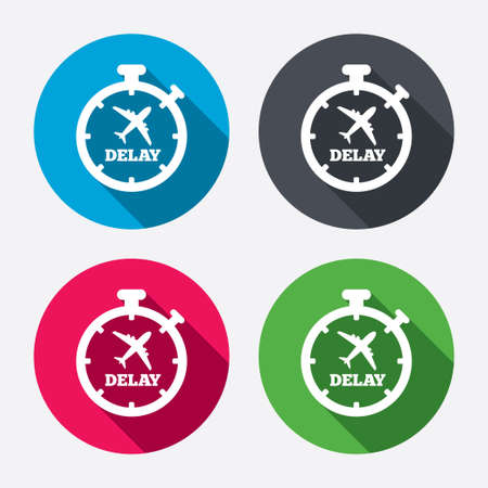 delayed: Delayed flight sign icon. Airport delay timer symbol. Airplane icon. Circle buttons with long shadow. 4 icons set. Vector