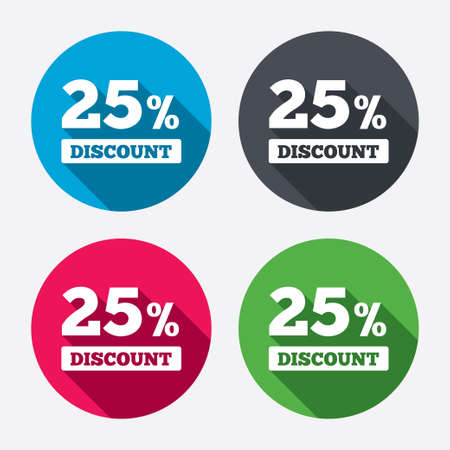 discount buttons: 25 percent discount sign icon. Sale symbol. Special offer label. Circle buttons with long shadow. 4 icons set. Vector
