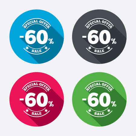60 percent discount sign icon. Sale symbol. Special offer label. Circle buttons with long shadow. 4 icons set. Vector Vector