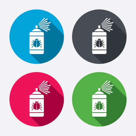 disinfection: Bug disinfection sign icon. Fumigation symbol. Bug sprayer. Circle buttons with long shadow. 4 icons set. Vector