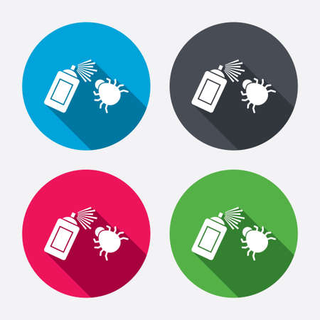 fumigation: Bug disinfection sign icon. Fumigation symbol. Bug sprayer. Circle buttons with long shadow. 4 icons set. Vector